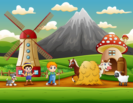 Illustration pour The farmers activity on the farm - image libre de droit