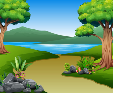 Illustration pour Nature landscape with river and mountain - image libre de droit