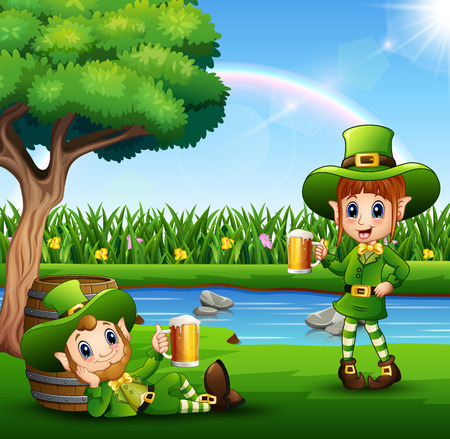 Cartoon leprechauns holding a beer in the park: Royalty-free ...