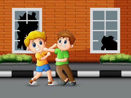 Illustration pour Cartoon two boys fighting on the road - image libre de droit