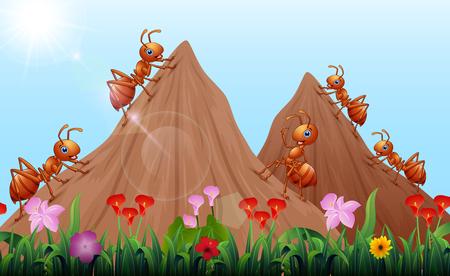 Illustration pour Cartoon ants colony with ant hill - image libre de droit