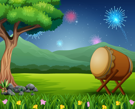 Illustration pour Nature landscape with a drum and fireworks in the sky - image libre de droit