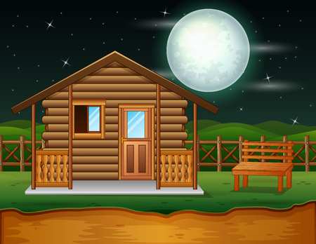 Illustration pour A traditional wooden house in the night scene - image libre de droit