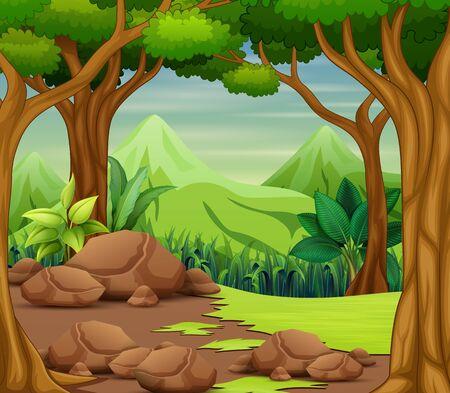 Illustration pour Forest scene with trees and beautiful landscape background - image libre de droit