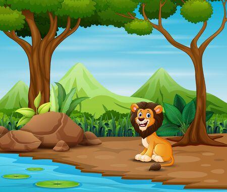 Illustration pour Scary lion cartoon living in the forest - image libre de droit