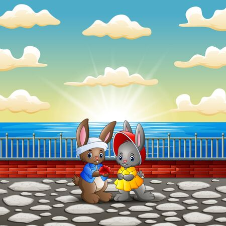 Illustration pour Couple rabbit cartoon in the riverbank with sunset background - image libre de droit