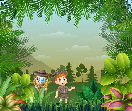 Illustration pour Landscape background with the explorer kids - image libre de droit