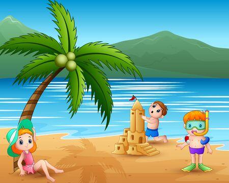 Illustration pour Children making sand castle at tropical beach - image libre de droit