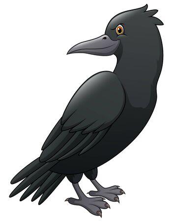 Illustration pour Cartoon crow isolated on white background - image libre de droit