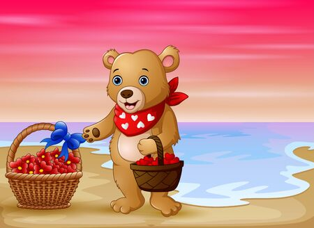 Illustration pour A bear with a basket of red heart on seaside - image libre de droit