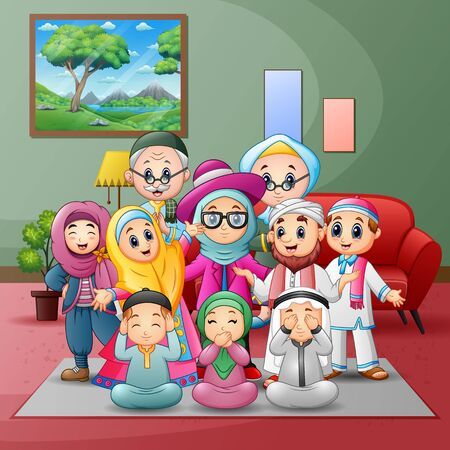 Illustration pour Happy big muslim family members gathered together at home - image libre de droit