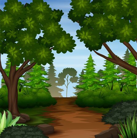 Illustration for Illustration of forest scene with dirt trail - Royalty Free Image