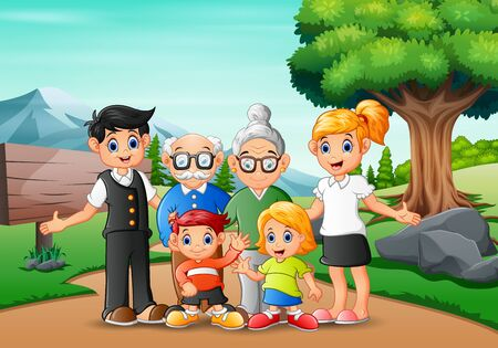 Illustration for Happy family member vacation in the park - Royalty Free Image