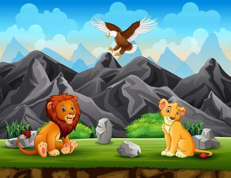 Illustration pour Two lion and eagle enjoying the nature - image libre de droit