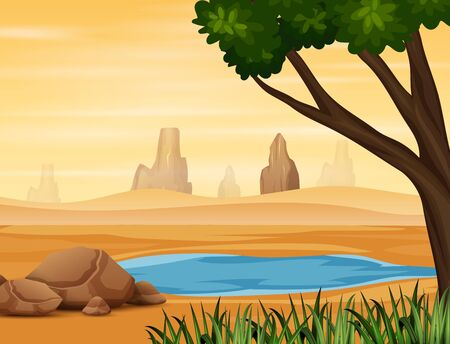 Illustration pour Background scene with water hole on the desert - image libre de droit