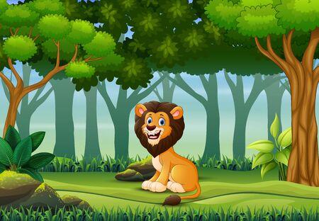Illustration pour A lion enjoying in the forest - image libre de droit