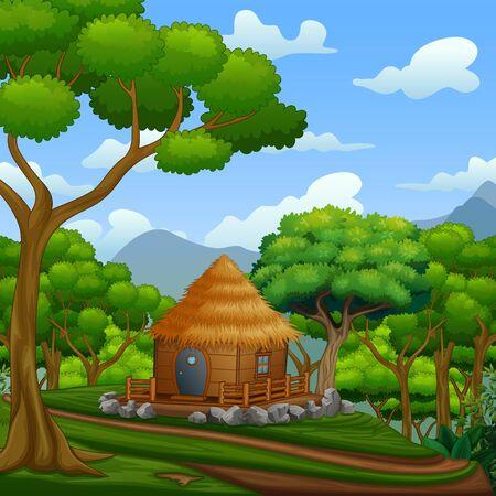 Illustration pour A wooden cabin at the hills - image libre de droit