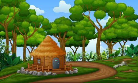 Illustration pour A cabin house in the middle of forest - image libre de droit