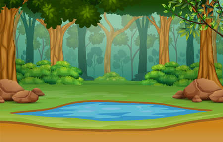 Illustration pour Small pond in the middle of the forest - image libre de droit