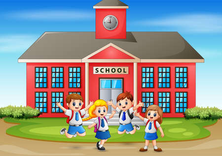 Illustration for Happy student in front of the school building - Royalty Free Image