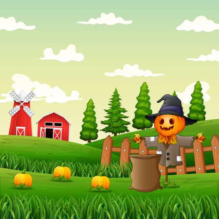 Illustration pour Illustration of a scarecrow in the pumpkin garden - image libre de droit