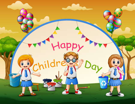 Illustration for Happy children's day poster with students in the park - Royalty Free Image