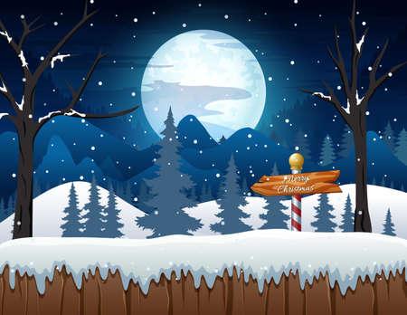 Illustration pour Winter night forest landscape with a wooden sign boards - image libre de droit