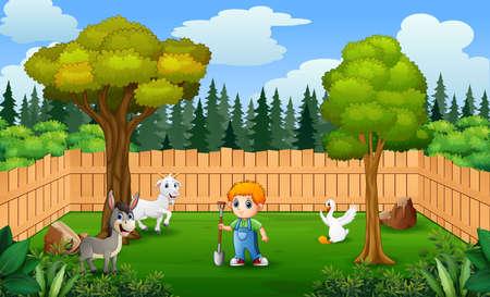 Illustration pour Happy farmer with animals in the farm - image libre de droit