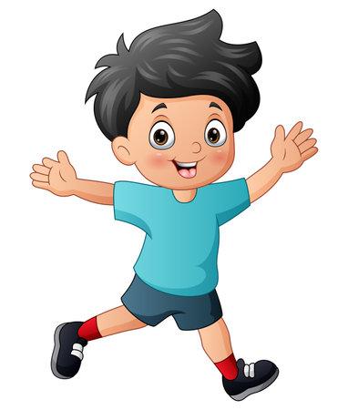 Ilustración de Cheerful a boy isolated on white background - Imagen libre de derechos