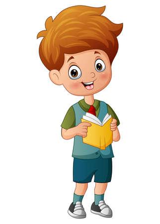 Ilustración de Cartoon of school boy holding a book - Imagen libre de derechos