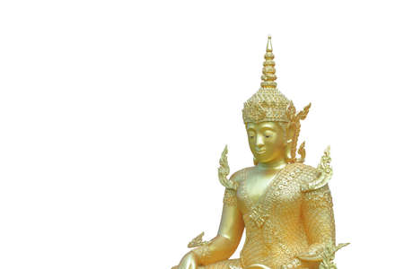 Sculpture about Buddha image is Buddha posture have  merciful and feel happy.