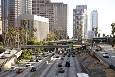 view of downtown los angeles and freeways