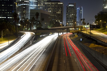view of downtown los angeles and freeways at night