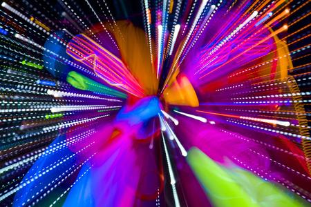 Photo pour 2 sexy cyber glow raver women filmed in fluorescent clothing under UV black light - image libre de droit