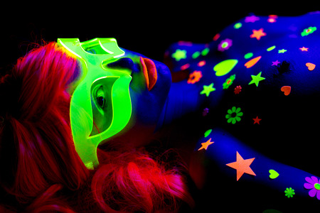 Photo for glow uv neon sexy disco female cyber doll robot electronic toy - Royalty Free Image