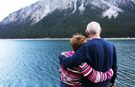 Lovely senior couple near the alp