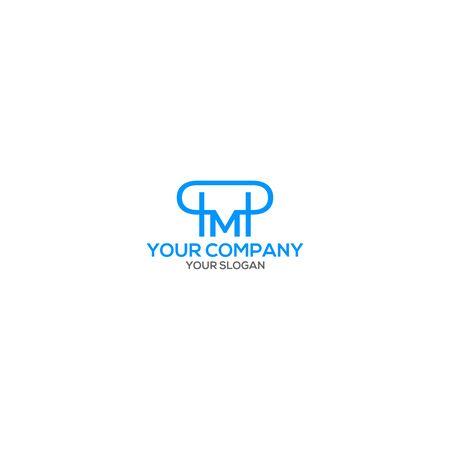 Illustration for Blue PM Logo Design Vector - Royalty Free Image