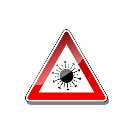 Illustration pour Coronavirus warning sign. Illustration of a warning sign for a corona virus on a white background - image libre de droit