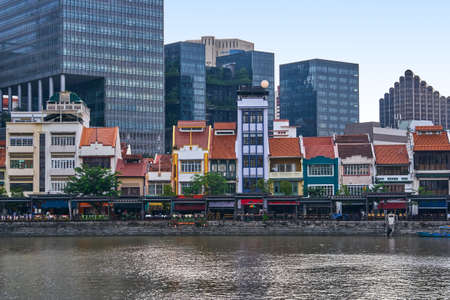 Photo for Boat quay historical district in Singapore - Royalty Free Image