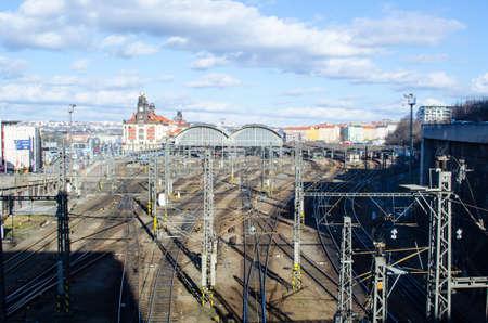 PRAGUE, CZECH REPUBLIC, JANUARY 30, 2015: trains are arriving to the prague main train station.