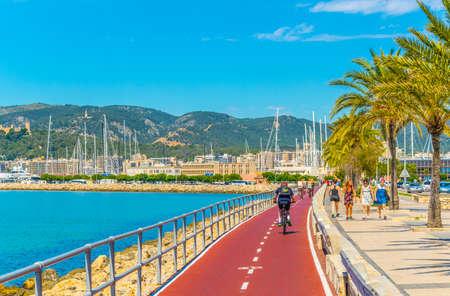 Photo for PALMA DE MALLORCA, SPAIN, MAY 18, 2017: Seaside promenade at Palma de Mallorca, Spain - Royalty Free Image