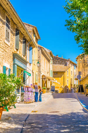 MENERBES, FRANCE, JUNE 24, 2017:Narrow street in Menerbes village in France