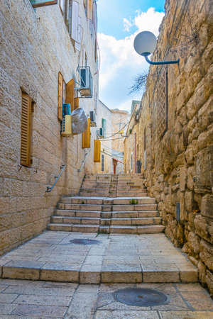 Photo for Narrow street of Armenian district of Jerusalem, Israel - Royalty Free Image