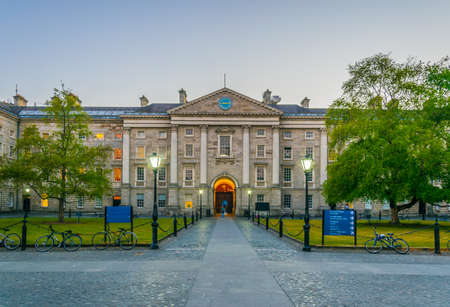 View of a building on the parliament square inside of the trinity college campus in Dublin, Ireland