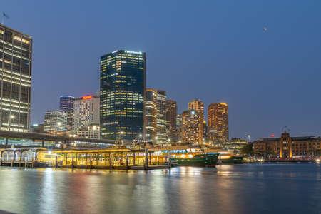 Photo for SYDNEY, AUSTRALIA, DECEMBER 30, 2019: Night view of Circular quay in Sydney, Austalia - Royalty Free Image