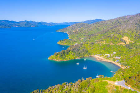 Photo pour Governors bay at Queen Charlotte sound at South Island of New Zeland - image libre de droit