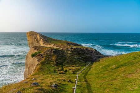 Photo pour Landscape of Tunnel beach near Dunedin, New Zealand - image libre de droit