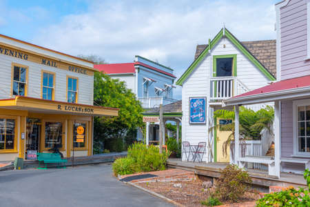 Photo for NELSON, NEW ZEALAND, FEBRUARY 5, 2020: Historial buildings at Founders Heritage Park at Nelson, New Zealand - Royalty Free Image