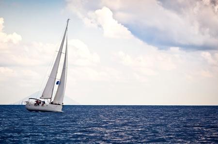 Sailing ship yacht in open sea