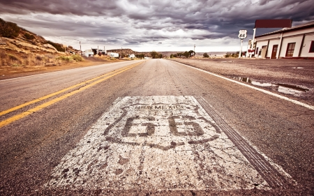 An old Route 66 shield painted on road